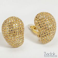 Yvel Cognac and Colorless Diamond Clip-On Post Earrings 18k Yellow Gold 7.78 ct.
