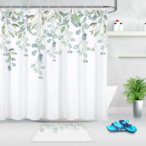 Exotic Rare Plants Leaves Branches Pattern Waterproof Fabric Shower Curtain Set