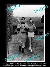 OLD 8x6 HISTORIC PHOTO OF MARILYN MONROE WITH BASEBALLER HANK MAJESKI c1950