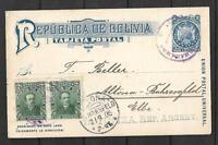 BOLIVIA Sc 71 PAIR 1904 ON PC 2 cts VIA TUPIZA  BUENOS AIRES TO USA ARR VF