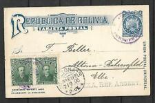 BOLIVIA Sc 71 PAIR 1904 ON PC 2 cts VIA TUPIZA  BUENOS AIRES TO USA ARR VF