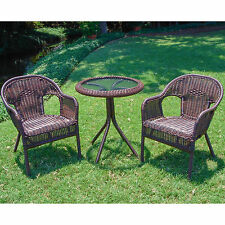 Brown Bistro Resin Wicker Round Side Table Patio Set Outdoor Home Furniture Deck