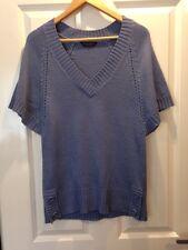 Dorothy Perkins Blue Jumper Short Sleeve V Neck Top Size 12 - <E2119