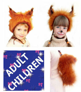 Animal Squirrel Fancy Dress 2ps Set Hat Tail Children Adult Carnival Party