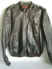 Members Only Men's Brown Leather Cafe Racer Motorcycle Jacket Mens 50 NO LINER
