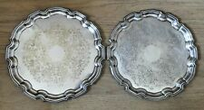 LOVELY PAIR VINTAGE SHEFFIELD SILVER PLATE CIRCULAR TRAYS Raised Scalloped Rim