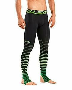 2XU Men's Elite Power Recovery Compression Tights Black/Green Small