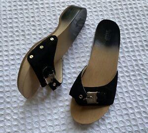 DR SCHOLLS Dr Scholl's Suede Original Exercise Sandals Wood Slides Black Ombré 8