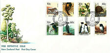 NEW ZEALAND  - 1988 Definitive Issue First Day Cover FDC 8 Stamps Birds