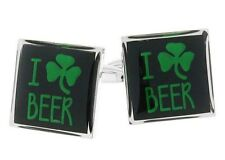 I Love Beer Green Clover Saint Patrick Irish Shamrock Ireland Cufflinks