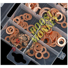 120Pcs Metric Assorted Solid Copper Crush Ring Washers Kit Set Seal Flat M12 M14