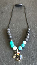 Calming Black Unicorn Diffuser Necklace - Natural 8mm Green Agate and Lava Beads
