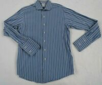 Brooks Brothers Men's Egyptian Cotton Slim Fit L/S Blue Striped Shirt Size 16-34