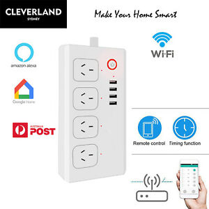 AU WiFi Smart home Power Strip board/4 USB Ports 4 outlets charger APP Remote