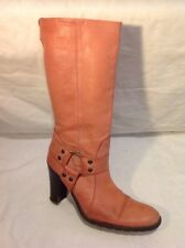 Ladies Pink Mid Calf Leather Boots Size 38
