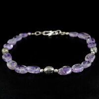 MOST DEMANDED 64.25 CTS NATURAL UNTREATED PURPLE AMETHYST OVAL BEADS BRACELET