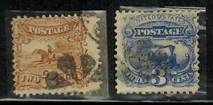United States #113,114 1869 Used