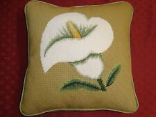 """New/Old Handmade Completed Needlepoint Cana Lily 13"""" Pillow Finished Green"""