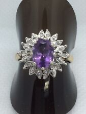 9ct Gold Amethyst & Diamond Cluster Ring. Size M