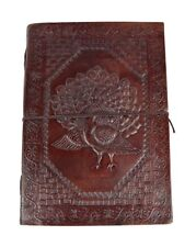 Handmade Leather  Diary Notebook Embossed With Peacock