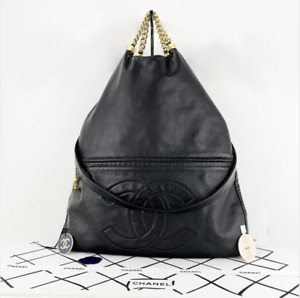 Authentic Chanel Tote Black Leather Chains Handles With Strap 12140190 Italy