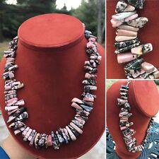 VINTAGE Rhodonite GEMSTONE STERLING SILVER 925 MODERNIST BOLD Necklace 130 grams
