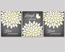 3 prints, modern wall art for living room, bedroom - flowers, yellow white grey