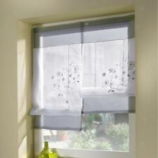 Lifting Embroidery Small Window Drape Roman Curtain Sheer 60x120cm Grey