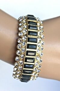 Lia Sophia Signed Rhinestone & Black Beaded Bracelet New