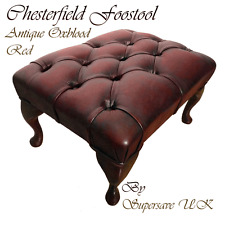 REAL LEATHER AUTHENTIC CHESTERFIELD FOOTSTOOL ANTIQUE OXBLOOD RED HANDMADE IN UK