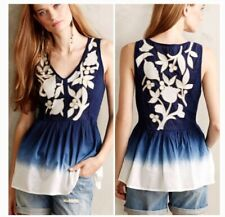 Antheopologie Floreat Navy/white Dipdye Peplem Gold Embroidered Tank size Xsmall
