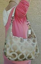 Coach Madison Op Art Hobo Shoulder Hand Bag Hobo 14337 khaki RARE purse satchel
