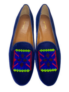 Etro Women's Blue Velvet Paisley Print Smoking Slippers Flats Shoes $800