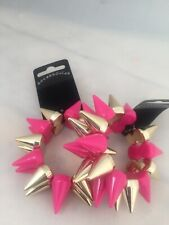 Pink And Gold Chunky Bracelet With Spikes