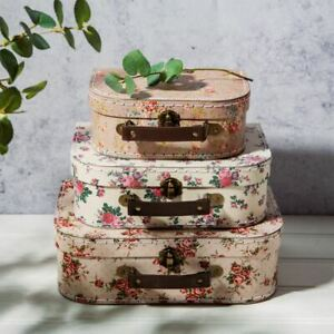 3 Storage Suitcases Vintage Rose   Sass & Belle Box Decorative Cases Home Gift