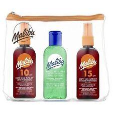 Malibu trío Bolsa de viaje conjunto 3 X 100ml (SPF10 y 15 Aceite Seco Spray/Gel de Aloe Vera)