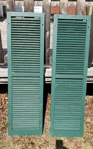"""Set Of 2 Green Wooden Shutters 56"""" x 16"""""""