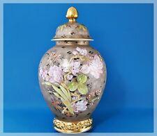 ROSENTHAL große DECKELVASE Blumen Gold Entwurf.: W.Mutze handgemalt SELTENHEIT