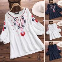 ZANZEA Women Summer Casual Loose Tops Ladies Floral Beach Shirts Blouse Pullover