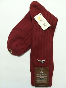 TOMMY BAHAMA MENS NEW RED BRICK 89%MODAL 10%NYLON DRESS SOCKS ONE SIZE