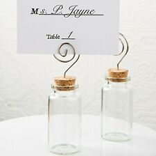 6 Glass Jar Place Card Holders Wedding Party Favors Beach Message Bottle Mw70031