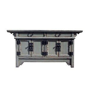Chinese Distressed Gray Lacquer Low Sideboard Console Table Cabinet cs5899