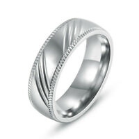 316L Stainless Steel Engagement Wedding Bands Round Women/Men Fashion Rings 6MM