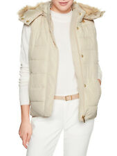 Banana Republic Womens Fur Hood Puffer Vest Off White/Cream, M, 7307-1