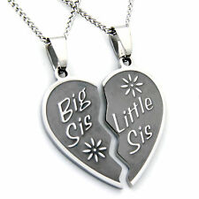 Big Sis, Little Sis Two Piece Heart Pendant Stainless Steel Necklace