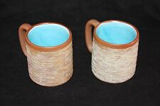Vintage Stoneware Coffee Mugs Pigeon Forge Pottery Brown Textured Blue Interior