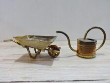 Vintage Latón Cobre Carretilla Regadera Miniatura Casa De Muñecas