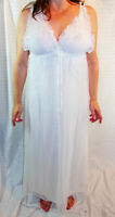 LORRAINE GORGEOUS BRIDAL WHITE DOUBLE LAYER LACE CHIFFON NIGHTGOWN XS S EVC
