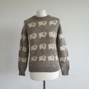 Beautiful Vintage Dove Grey Sheep Patterned Handcrafted Wool Knitted Jumper S