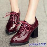 British Women's Shiny Leather Shoes Retro Lace Up High Block Heel Oxfords Pumps